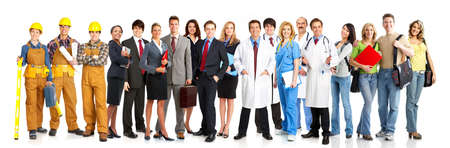 team worker: Large group of smiling workers people. Over white background