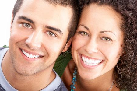 Happy lachende paar in liefde. Over witte achtergrond Stockfoto