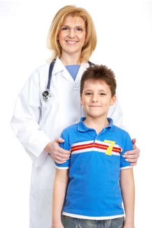 Smiling family medical doctor and a child. Over white background