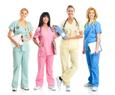 Smiling medical people with stethoscopes. Doctors and nurses over white background Stock fotó