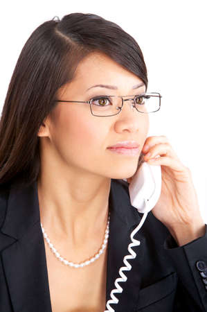 call: Young smiling business woman calling by  phone. Over white background  Stock Photo