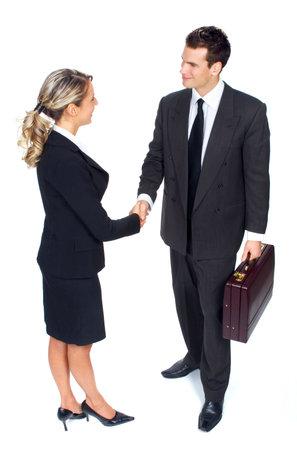 Jong lachend zakelijke vrouw en zakenman. Over witte achtergrond