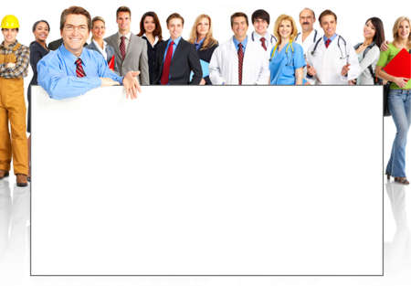 Large group of young smiling business people. Over white background  photo