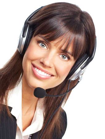 customer service representative: Beautiful  business woman with headset. Over white background
