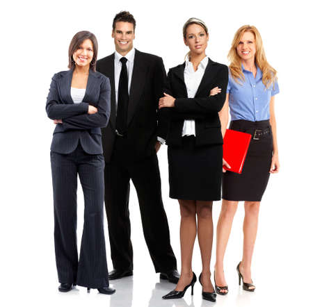 of office: group of young smiling business people. Over white background