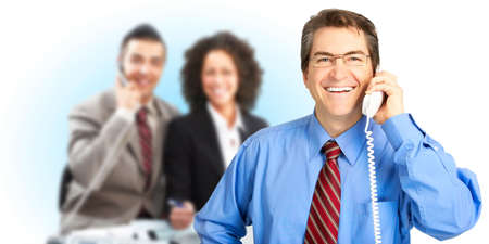 business people calling by telephone. Over white background  photo