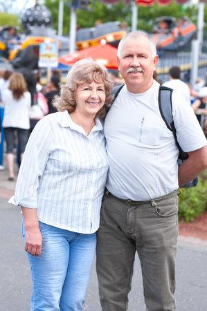 Smiling happy elderly couple in the city  Stock Photo