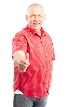 Smiling happy elderly man. Isolated over white background  Stock Photo
