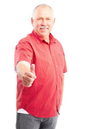 Smiling happy elderly man. Isolated over white background Stock Photo - 5349765