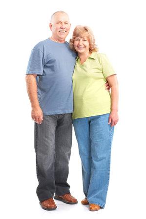 Happy elderly couple in love. Isolated over white backfround