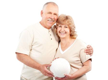 Active  elderly couple. Isolated over white backfround  photo