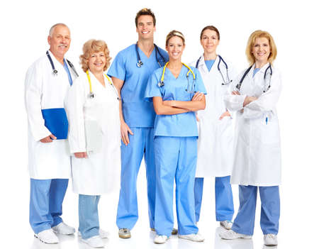 medical doctors: Smiling medical doctors with stethoscope. Isolated over white background