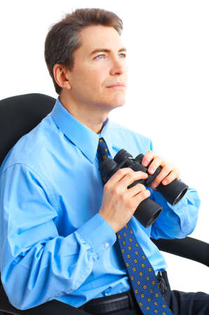 business man  with binoculars looking to the future  photo
