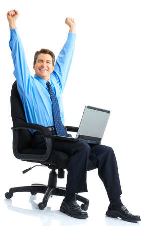 exalted: Businessman  working with laptop. Over white background