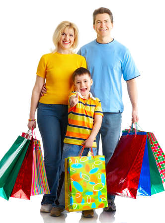 beauty shop: Happy family shopping. Isolated over white background  Stock Photo