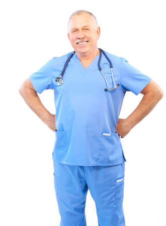 Smiling medical doctor with stethoscope. Isolated over white background Stock Photo - 5349724