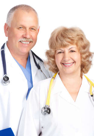 Smiling medical doctors with stethoscope. Isolated over white background Stock Photo - 5349755