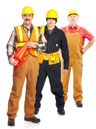 Industrial workers people. Isolated over white background Stock Photo - 5349833