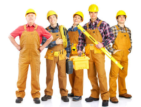 perforate: Industrial workers people. Isolated over white background  Stock Photo