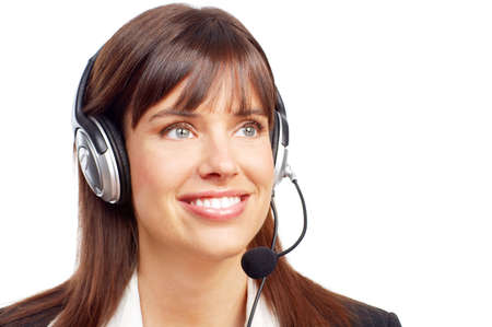 customer service representative: Beautiful  customer service operator woman with headset. Over white background