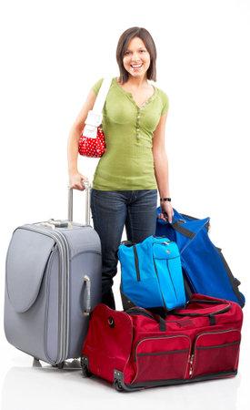 mujer con maleta: Mujer turista Happy. Aislado sobre fondo blanco