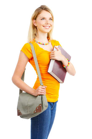 Young smiling  student woman. Over white background  Stock Photo