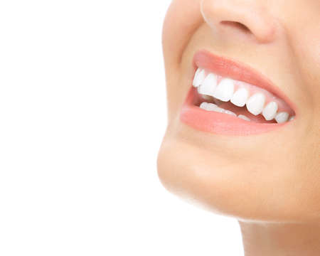 Beautiful young woman teeth. Isolated over  white background  photo