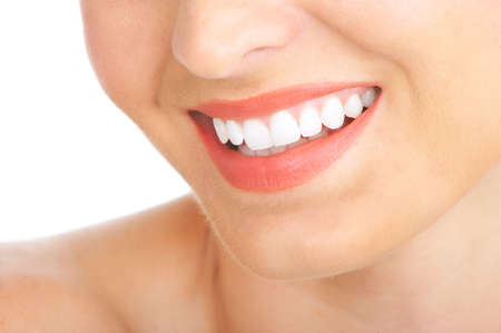 Beautiful young woman teeth. Isolated over  white background Stock Photo - 5403827