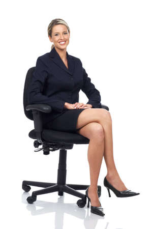 Smiling business woman. Isolated over white background  Stok Fotoğraf