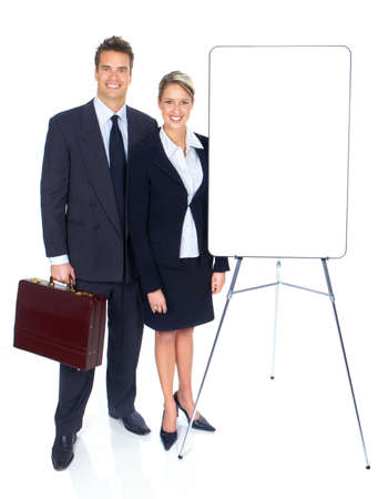plackard: Business people with plackard. Over white background