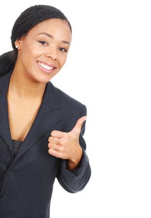 ビジネスの成功の女性。白い背景の上の分離