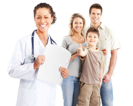 Smiling family medical doctor and young family. Over white background Stock Photo - 5461538