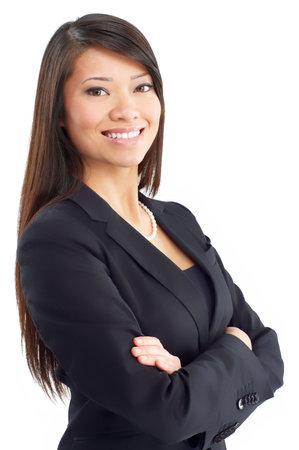 Smiling zakelijke vrouw. Isolated over white background Stockfoto