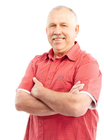 Smiling happy elderly man. Isolated over white background Imagens - 5493685
