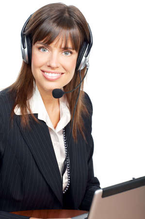 Beautiful  business woman with headset. Over white background  版權商用圖片