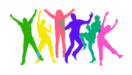 Colored silhouettes of happy jumping people. Isolated over white background  photo