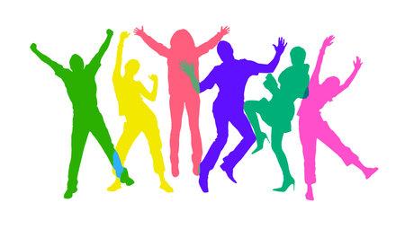 Gekleurde silhouetten van gelukkige mensen springen. Isolated over white background