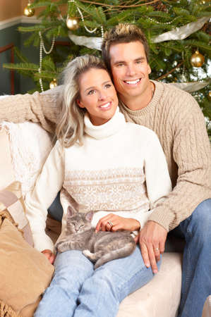 winter woman: Young couple in love at home