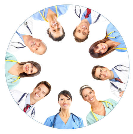 clinical: Smiling medical people with stethoscopes. Doctors and nurses over white background  Stock Photo
