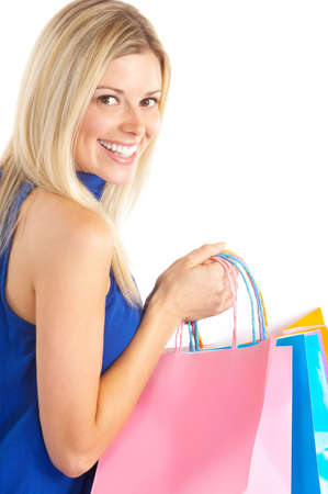 purchaser: Shopping happy  woman. Isolated over white background  Stock Photo