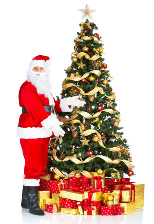 Smiling Santa and Christmas Tree. Over white background