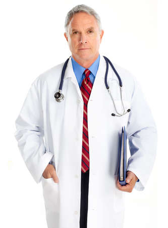 Handsome medical doctor with stethoscope. Isolated over white background  photo