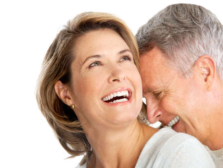 Happy elderly couple in love. Isolated over white background Stock Photo - 5593502