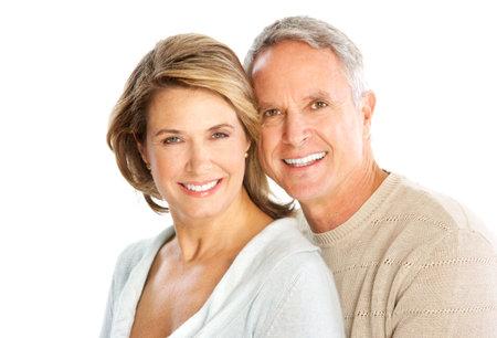 Happy elderly couple in love. Isolated over white background   Stock fotó