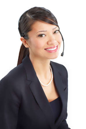 Mooie call center operator met headset. Over witte achtergrond