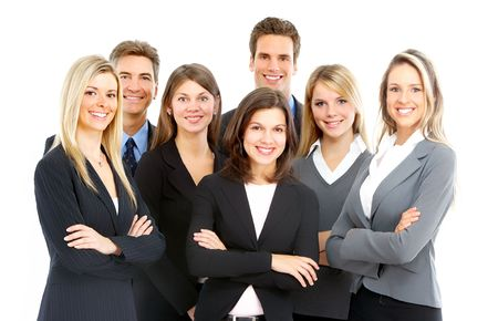 Large group of young smiling business people. Over white background Фото со стока - 5641990