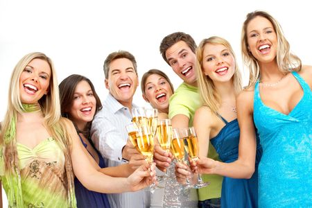 Happy funny people con champán. Aislado sobre fondo blanco