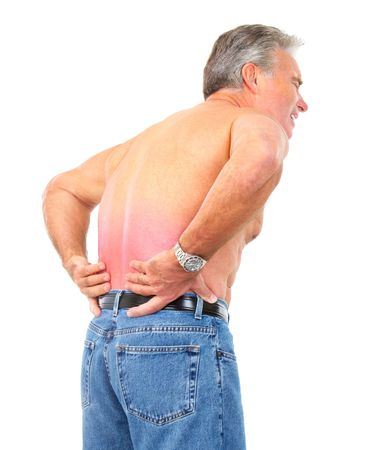 back ache: man having back pain. Isolated over white background