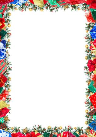 Christmas Tree Decoration frame. Isolated over white background Standard-Bild