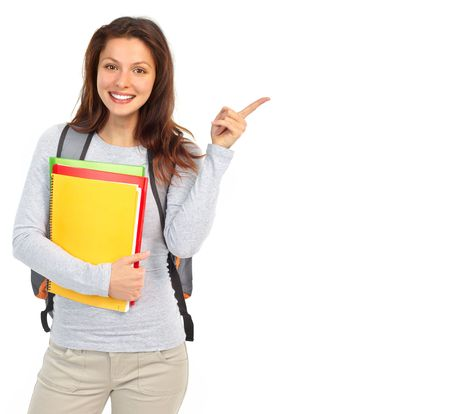 Young smiling  student woman. Over white background Stock Photo - 5707009